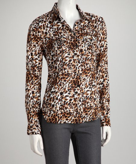 Brown Jungle Cat Button-Up