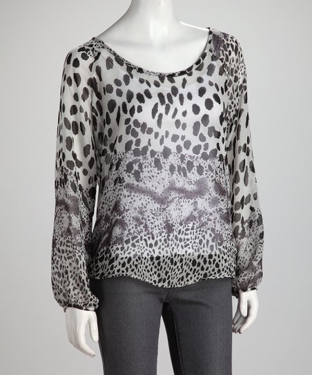 Black Abstract Jungle Cat Top