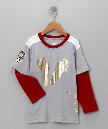 Gray & Red Soccer Cleat Layered Tee - Toddler & Boys