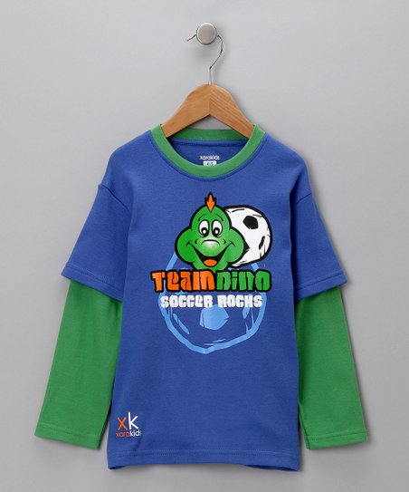 Blue & Green 'Team Dino' Layered Tee - Toddler & Boys