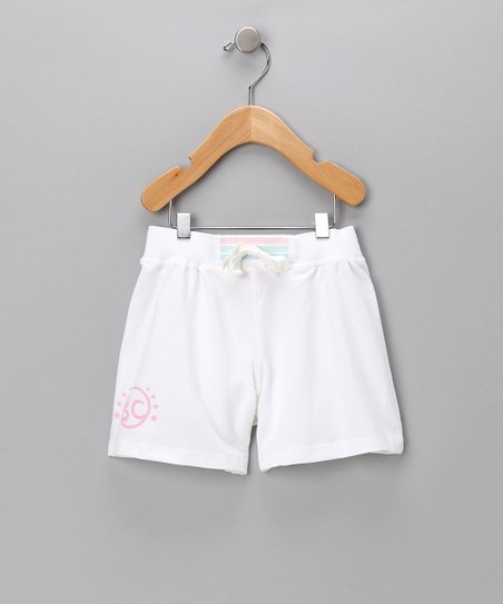 White 'SC' Shorts - Toddler & Girls