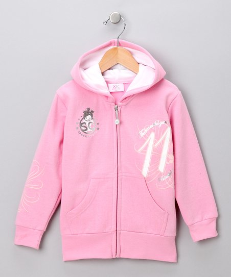 Pink 'Soccer Crazy' Zip-Up Hoodie - Toddler & Girls