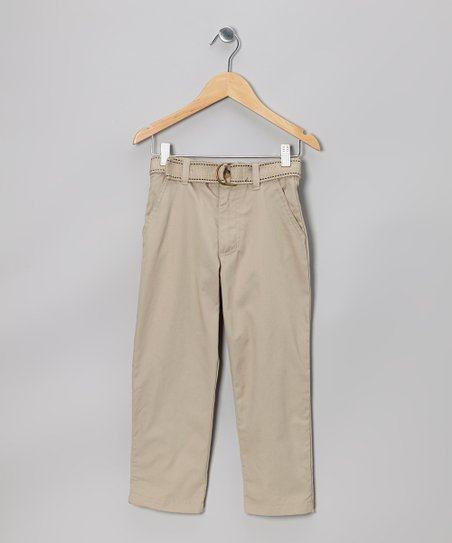 Khaki Belted Twill Pants - Boys