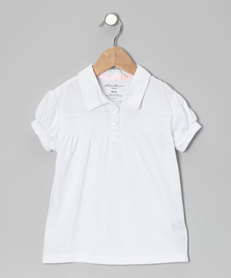 White Shirred Puff-Sleeve Polo - Girls