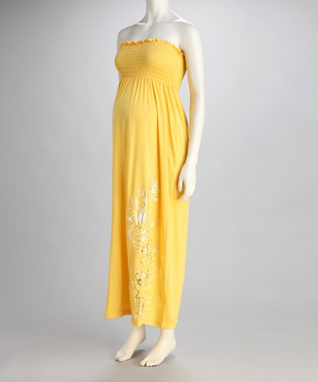 Yellow Hibiscus Maternity Maxi Dress - Women