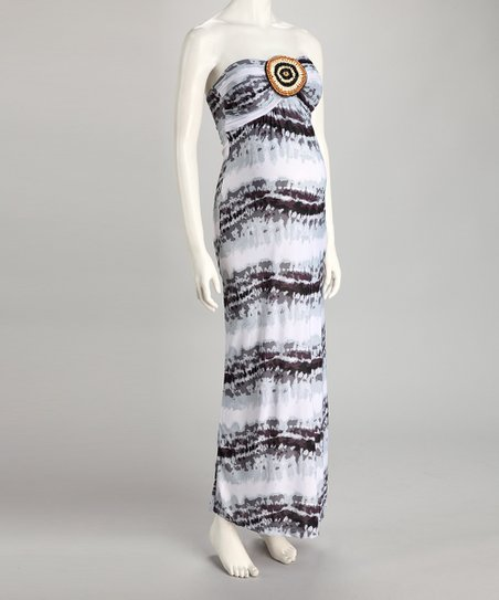 Gray Stripe Maternity Strapless Maxi Dress