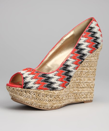 Coral Trina Peep-Toe Wedge