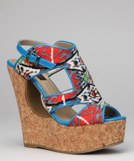 Blue Tribal Bessie-06 Wedge Sandal