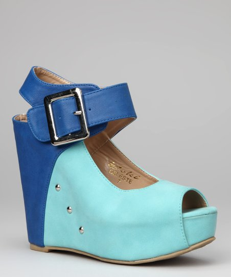 Teal Celeste Wedge Sandal