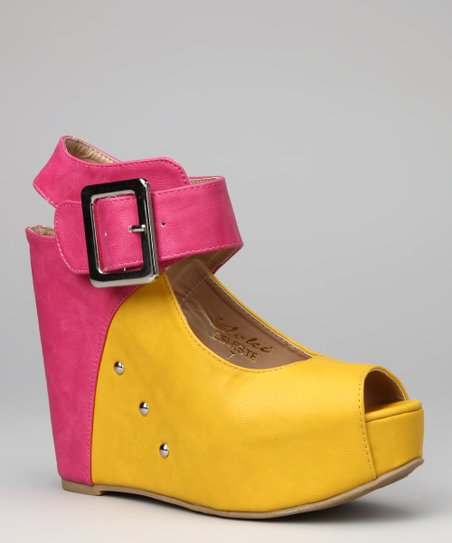 Yellow Celeste Wedge Sandal