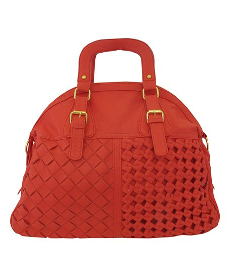 Coral Basket Weave Satchel