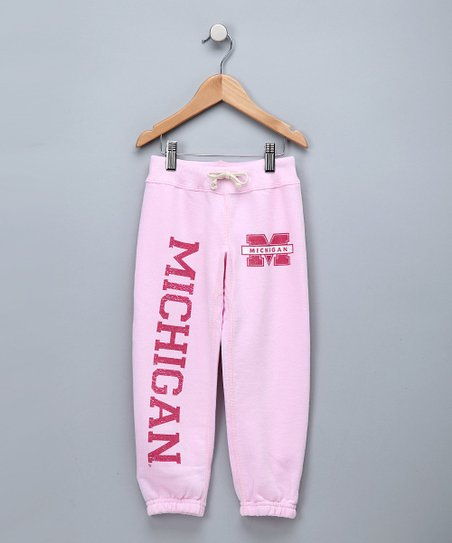 Light Pink 'Michigan' Sweatpants - Girls