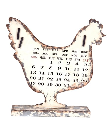Cream Rooster Distressed Calendar