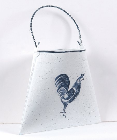 Blue & White Rooster Wall Basket