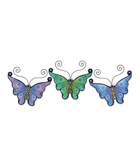 Green & Purple Butterfly Plaque Set