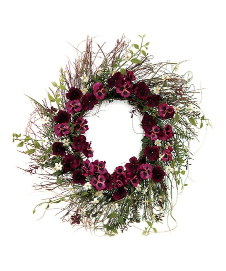 Purple Pansy & Fern Foliage Wreath