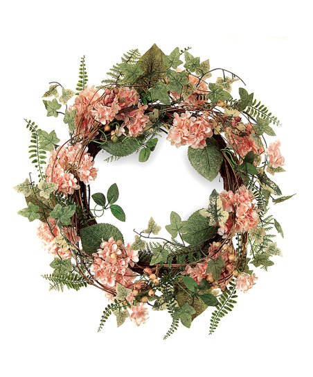 Pink & Green Berry Hydrangea Wreath