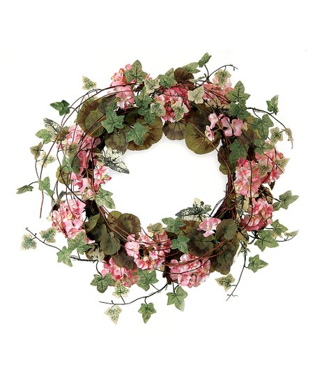 Pink &amp; Green Ivy Geranium Wreath