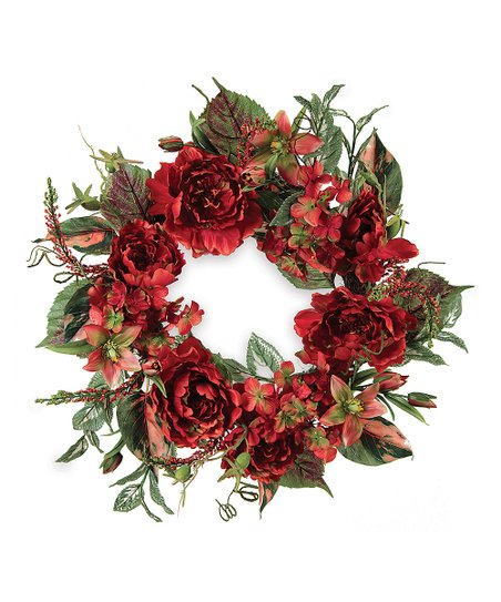 Red &amp; Orange Mixed Floral Wreath
