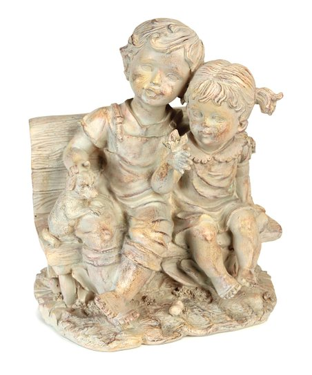 Boy &amp; Girl Bench Figurine