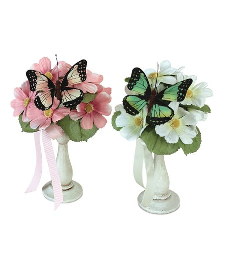 Pink & White Daisy Vase - Set of Two