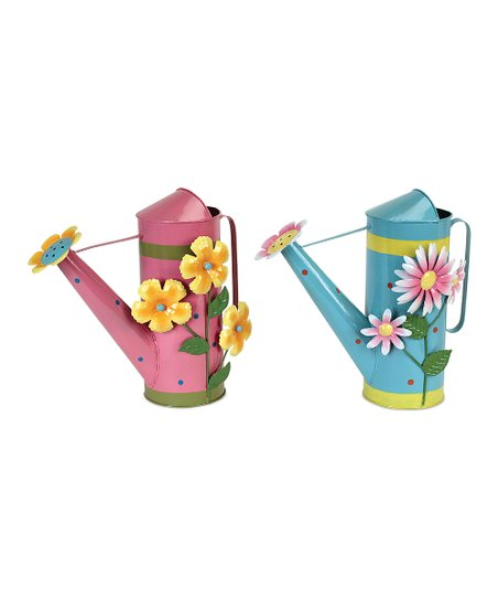 Pink & Blue Flower Watering Can Set