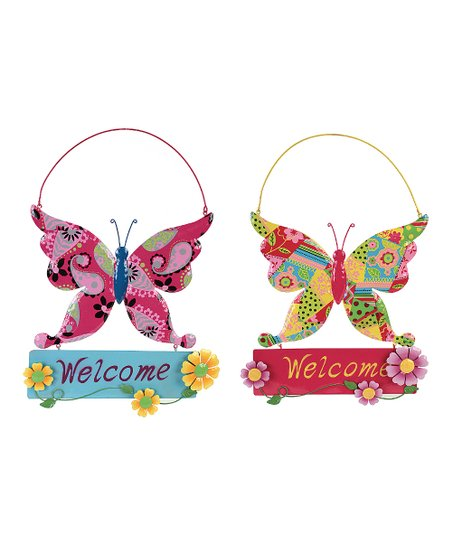 Pink & Blue Butterfly Welcome Sign Set