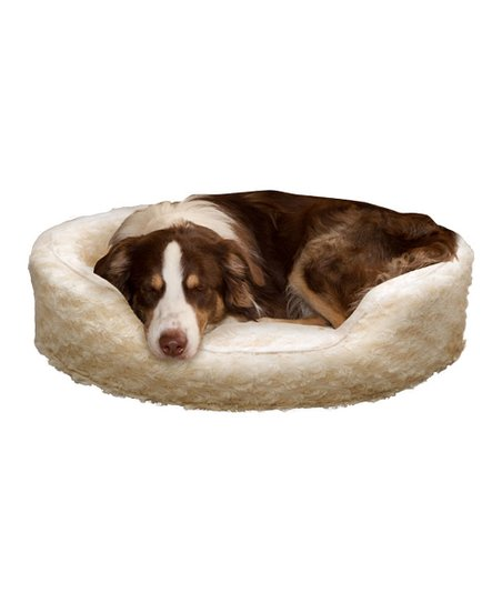 Cream Fur Cuddler Pet Bed