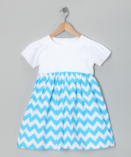 Blue Shelby Chevron Dress - Infant, Toddler & Girls