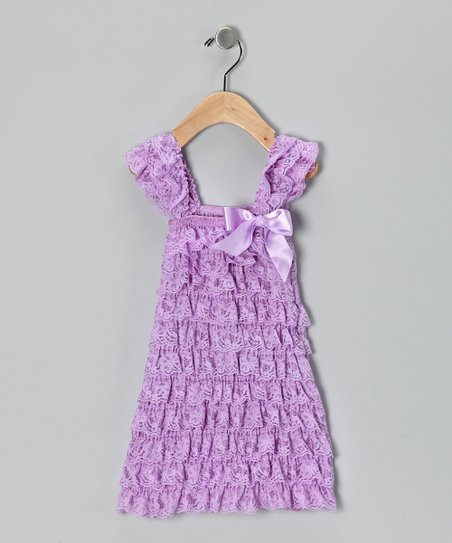 Ginger Hares Lavender Lace Ruffle Dress - Girls