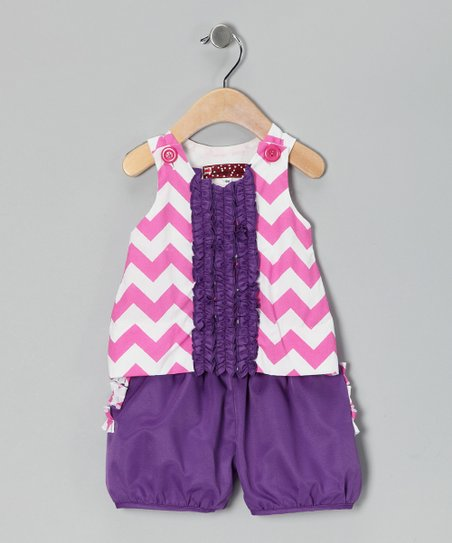Pink & Purple Chevron Alexis Tank & Shorts - Infant & Toddler