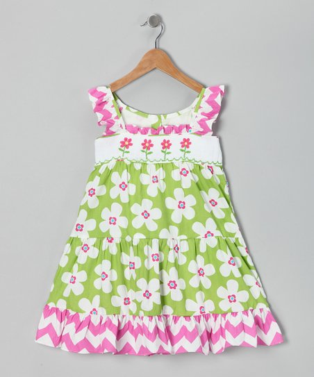 Ginger Hares Green Floral Chevron Dress - Infant, Toddler & Girls