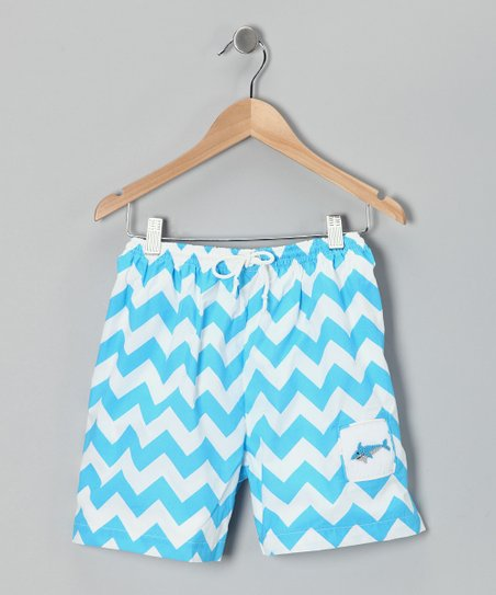 Ginger Hares Blue Chevron Swim Trunks - Infant, Toddler & Boys