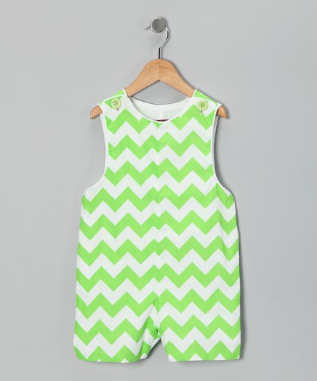 Green Chevron Shortalls - Infant & Toddler