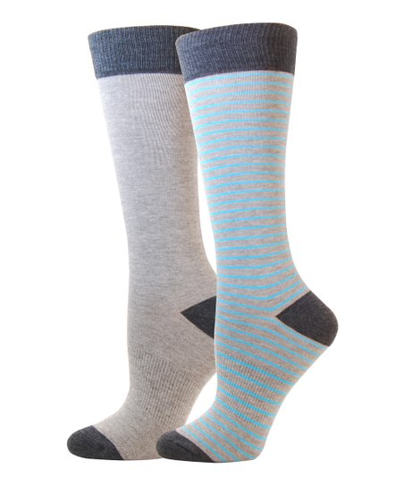 Gray & Blue Cotton-Blend Crew Socks Set