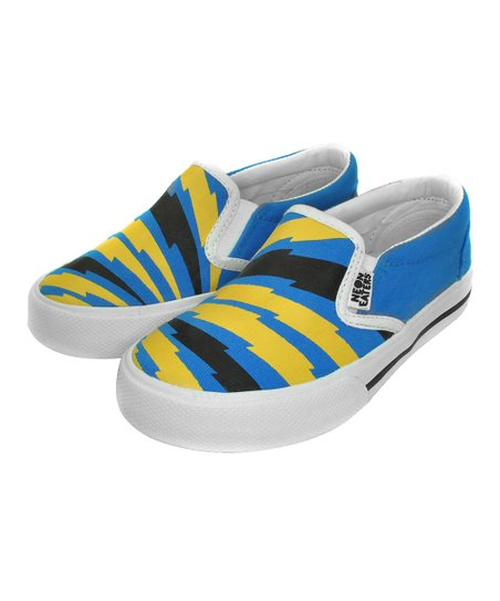 Blue & Yellow Bolts Slip-On Sneaker
