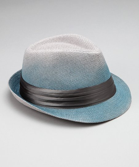 Vivante Blue & Charcoal Satin Fedora