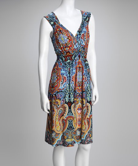 Blue & Orange Lazy Paisley Dress