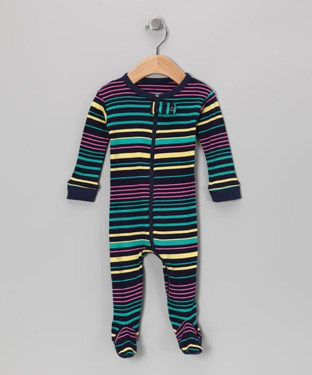 Yellow &amp; Teal Stripe Footie - Infant, Toddler &amp; Kids