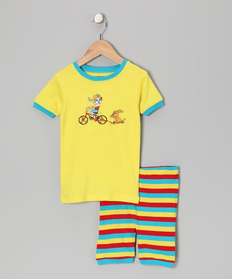 Yellow Bike Stripe Pajama Set - Infant, Toddler & Kids