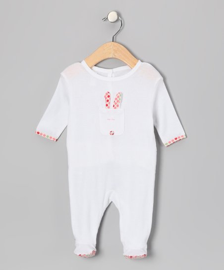 White 'Hop Hop' Footie - Infant