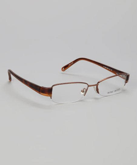 Almond Tortoise Square Half-Rim Glasses