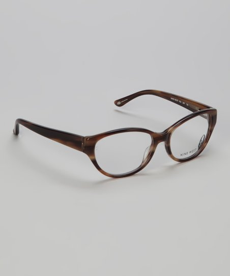 Brown Striated Cat-Eye Glasses