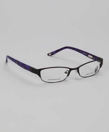 Satin Black Metal Rectangular Glasses