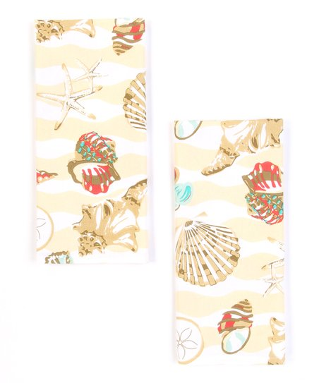 Seashell Wave Dish Towel - Set of Two