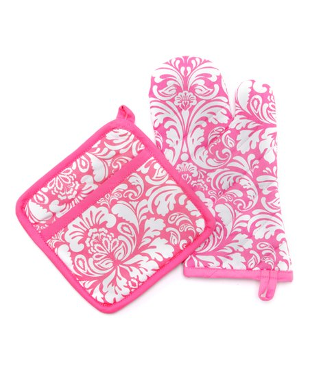 Pink Cosmo Damask Oven Mitt & Pot Holder