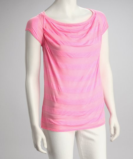Neon Pink Stripe Cowl Neck Top