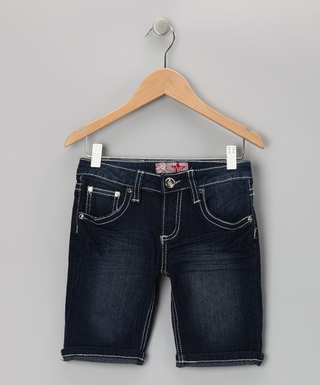 Dark Wash Contrast-Stitch Bermuda Shorts
