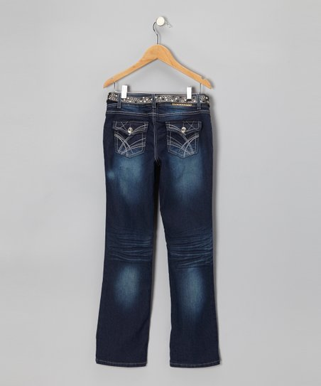 Dark Wash Embroidered Skinny Bootcut Jeans & Belt