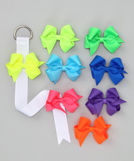 Picture Perfect Hair Bows Neon Bow Clips &amp; Bow Holder